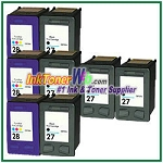 HP 27 28 Compatible ink Cartridges - 8 Piece Combo