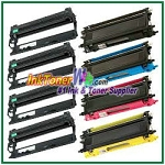 Brother TN-210 DR-210CL BK/C/M/Y Compatible Toner Cartridges & Drum Units - 8 Piece Combo