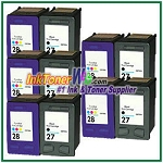 HP 27 28 Compatible ink Cartridges - 10 Piece Combo