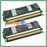 Lexmark C522, C524, C530, C532, C534 Black Compatible Toner Cartridges - 2 Piece