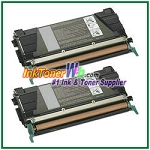 Lexmark C524, C532, C534 Black High Yield Compatible Toner Cartridges - 2 Piece