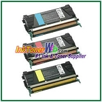 Lexmark C524, C532, C534 Cyan, Magenta, Yellow High Yield Compatible Toner Cartridges - 3 Piece Combo