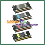 Lexmark C524, C532, C534 Black, Cyan, Magenta, Yellow High Yield Compatible Toner Cartridges - 4 Piece Combo