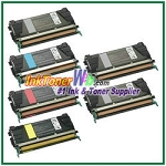 Lexmark C524, C532, C534 Black, Cyan, Magenta, Yellow High Yield Compatible Toner Cartridges - 6 Piece Combo