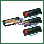 Lexmark E260, E360, E460, E462 Compatible Toner Cartridges & Drum Unit - 4 Piece Combo