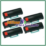 Lexmark E360, E460, E462 High Yield Compatible Toner Cartridges - 5 Piece