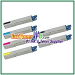 OKI Data 43459301-04 High Yield Compatible Toner Cartridges for C3400n/C3530n MFP/C3600n/MC360n MFP - 6 Piece Combo