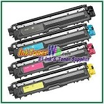 Brother TN-221BK TN-225C TN-225M TN-225Y High Yield Compatible Toner Cartridges - 4 Piece Combo