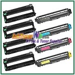 Brother TN-221 TN-225 DR-221CL BK/C/M/Y Compatible Toner Cartridges & Drum Units - 8 Piece Combo