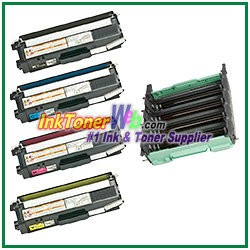 Brother DR-310CL TN-310BK TN-310C TN-310M TN-310Y Compatible Toner Cartridges (High Yield) & Drum Unit - 5 Piece Combo