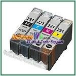 Canon CLI-221 Compatible ink Cartridges - 4 Piece Combo