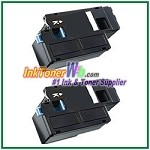 Dell C1760nw/ C1765nf/ C1765nfw/ 1250c/ 1350cnw/ 1355cn/ 1355cnw Black Compatible Toner Cartridges - 2 Piece