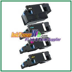 Dell C1760nw/ C1765nf/ C1765nfw/ 1250c/ 1350cnw/ 1355cn/ 1355cnw High Yield Black Cyan Magenta Yellow Compatible Toner Cartridges - 4 Piece Combo