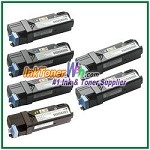Dell 1320/1320c High Yield Black Cyan Magenta Yellow Compatible Toner Cartridges - 6 Piece Combo