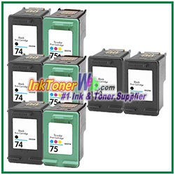HP 74 75 Compatible ink Cartridges - 8 Piece Combo