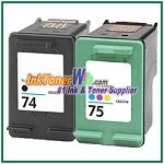HP 74 75 Compatible ink Cartridges - 2 Piece Combo