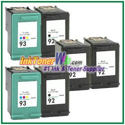 HP 92 93 Compatible ink Cartridges - 6 Piece Combo