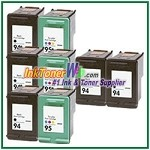 HP 94 95 Compatible ink Cartridges - 8 Piece Combo