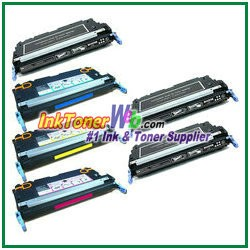 HP 501A / 503A Q6470A, Q7581-83A Compatible Toner Cartridges - 6 Piece Combo