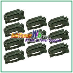 HP 55X CE255X High Yield Compatible Toner Cartridges - 10 Piece