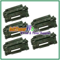 HP 55X CE255X High Yield Compatible Toner Cartridges - 5 Piece