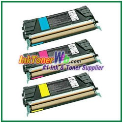Lexmark C522, C524, C530, C532, C534 Cyan, Magenta, Yellow Compatible Toner Cartridges - 3 Piece Combo
