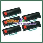 Lexmark E260, E360, E460, E462 Compatible Toner Cartridges - 5 Piece