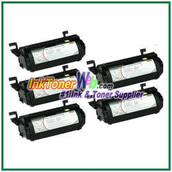 Lexmark Optra T, T610, T612, T614, T616 High Yield Compatible Toner Cartridges - 5 Piece