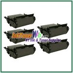 Lexmark  T632, T634, X632, X634 Extra High Yield Compatible Toner Cartridges - 5 Piece