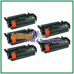 Lexmark T650, T652, T654, T656 High Yield Compatible Toner Cartridges - 5 Piece