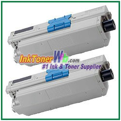 OKI Data 44469801 Compatible Black Toner Cartridge for C330 - 2 Piece