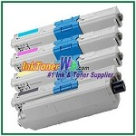 OKI Data 44469801 44469701-03 Compatible Toner Cartridges for C330 - 4 Piece Combo