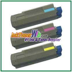 OKI Data 43324401-03 High Yield Compatible Toner Cartridges Type C8 - 3 Piece Combo