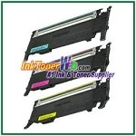 Color Toner Cartridge Compatible with Samsung CLT-C407S CLT-M407S CLT-Y407S High Yield - 3 Piece Combo